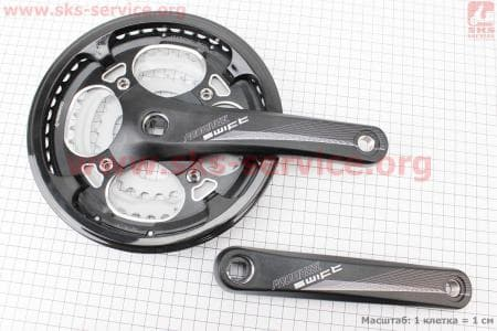 """Шатуны """"квадрат"""" 170мм, 48.38.28T MTB, алюминиевые, черные SWIFT-201P для велосипеда"""