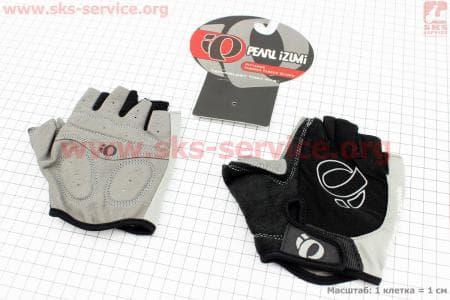Перчатки велосипедные без пальцев L-черно-серые, с мягкими вставками под ладонь
