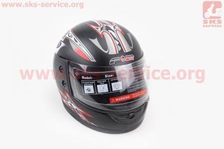 Шлем закрытый 825-1 XS- ЧЕРНЫЙ матовый с серо красным мечем