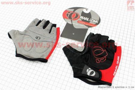 Перчатки велосипедные без пальцев L-черно-красные, с мягкими вставками под ладонь