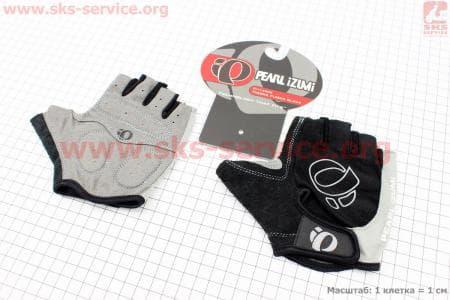 Перчатки велосипедные без пальцев M-черно-серые, с мягкими вставками под ладонь