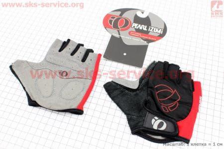Перчатки велосипедные без пальцев M-черно-красные, с мягкими вставками под ладонь