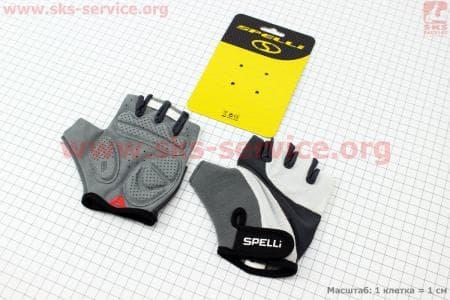 Перчатки велосипедные без пальцев M-серо-белые, с гелевыми вставками под ладонь SCG-358