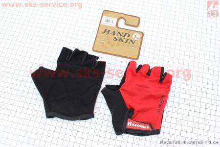 Перчатки велосипедные без пальцев XL-черно-красные, с мягкими вставками под ладонь
