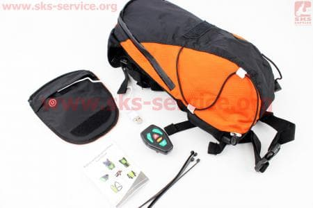 Рюкзак велосипедный влагозащитный 5 литр., с диодным указателем направления, пульт дистанционного управления, Li-ion 3.7V 600mAh зарядка от USB, оранжевый