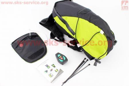 Рюкзак велосипедный влагозащитный 5 литр., с диодным указателем направления, пульт дистанционного управления, Li-ion 3.7V 600mAh зарядка от USB, салатовый