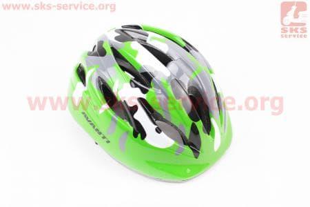 """Шлем велосипедный детский, 12 вент. отверстия, системы регулировки по размеру Divider и Run System SRS, зеленый """"КАМУФЛЯЖ"""" AV-021"""