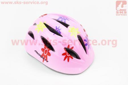 Шлем велосипедный детский, 12 вент. отверстия, системы регулировки по размеру Divider и Run System SRS, розовый с цветочками  AV-021