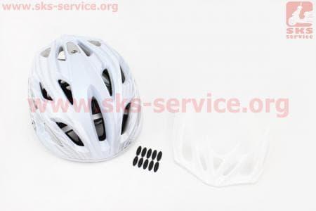 Шлем велосипедный M (55-61 см) съемный козырек, 18 вент. отверстия, системы регулировки по размеру Divider и Run System SRS, бело-серый SBH-5900