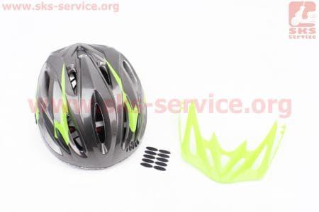 Шлем велосипедный M (55-61 см) съемный козырек, 16 вент. отверстия, системы регулировки по размеру Divider и Run System SRS, черно-зеленый SBH-5500