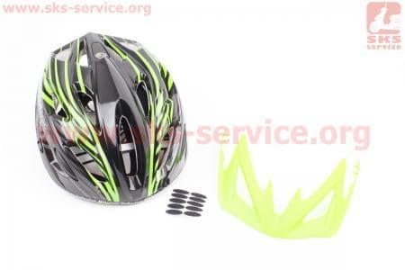 Шлем велосипедный M (55-61 см) съемный козырек, 18 вент. отверстия, системы регулировки по размеру Divider и Run System SRS, черно-зеленый SBH-5900