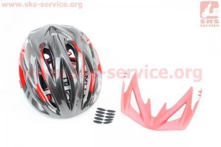 Шлем велосипедный M (55-61 см) съемный козырек, 16 вент. отверстия, системы регулировки по размеру Divider и Run System SRS, черно-красный SBH-5500