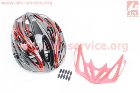 Шлем велосипедный M (55-61 см) съемный козырек, 18 вент. отверстия, системы регулировки по размеру Divider и Run System SRS, черно-красный SBH-5900