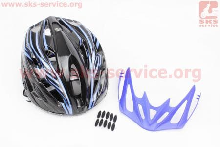 Шлем велосипедный M (55-61 см) съемный козырек, 18 вент. отверстия, системы регулировки по размеру Divider и Run System SRS, черно-синий SBH-5900