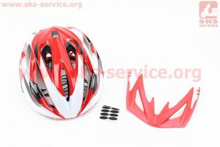 Шлем велосипедный L (59-65 см) съемный козырек, 16 вент. отверстия, системы регулировки по размеру Divider и Run System SRS, красно-белый SBH-5500