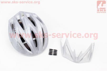 Шлем велосипедный L (59-65 см) съемный козырек, 10 вент. отверстия, системы регулировки по размеру Divider и Run System SRS, серый матовый SBH-4000