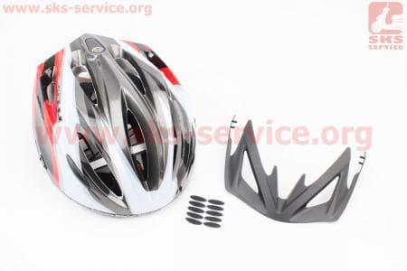 Шлем велосипедный L (59-65 см) съемный козырек, 10 вент. отверстия, системы регулировки по размеру Divider и Run System SRS, черно-бело-красный 4000