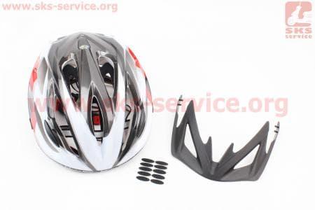 Шлем велосипедный L (59-65 см) съемный козырек, 16 вент. отверстия, системы регулировки по размеру Divider и Run System SRS, черно-бело-красный 5500