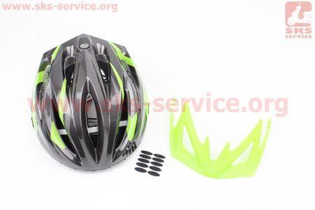 Шлем велосипедный L (59-65 см) съемный козырек, 10 вент. отверстия, системы регулировки по размеру Divider и Run System SRS, черно-зеленый SBH-4000