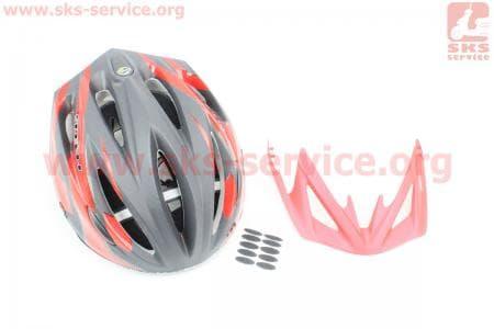 Шлем велосипедный L (59-65 см) съемный козырек, 10 вент. отверстия, системы регулировки по размеру Divider и Run System SRS, черно-красный SBH-4000