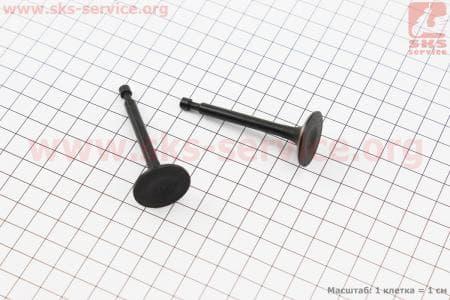 Клапан впускной (h-64; D-25; d-5,45), выпускной (h-62; D-24; d-5,45) к-кт 2шт 168F для мотоблока