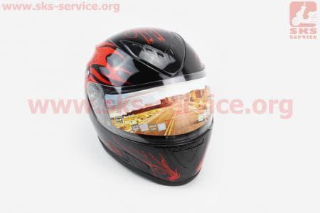 Шлем закрытый HF-160 S- ЧЕРНЫЙ глянец с красным рисунком Q32