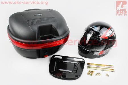 Кофр средний (пластмассовый) 445*385*280мм, крепл. быстросъемное, черный матовый LX-809 + ШЛЕМ для мотоцикла