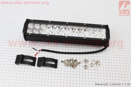 Фара дополнительная светодиодная влагозащитная - 24 LED с креплением, прямоугольная 295*75мм