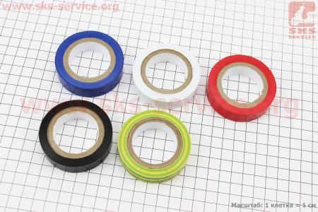 Лента изоляционная к-кт 5шт, красная, синяя, черная, белая, желто-зеленая (10м*15мм*150мкм) MUSTANG