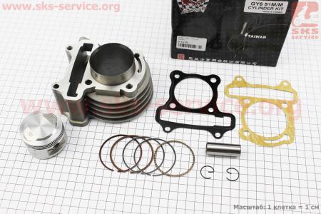 Цилиндр к-кт (цпг) 110cc-51мм, (Тайвань) (палец 13мм)  на двигатель 50-100сс 4-Т (скутер)