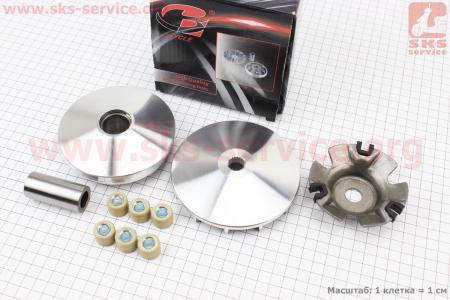 Вариатор передний+втулка+крыльчатка к-кт на двигатель 125,150сс 4-Т (скутер)