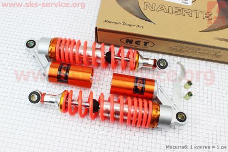 Амортизатор задний JH/CB/CG - 325мм*d60мм (втулка 10;12мм / втулка 10;12мм) газовый регулир., красный к-кт 2шт для мопеда Delta (Viper)