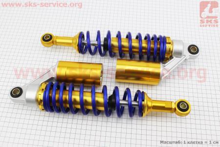 Амортизатор задний JH/CB/CG - 330мм*d60мм (втулка 12мм / втулка 10мм) газовый регулир., синий к-кт 2шт для мопеда Delta (Viper)