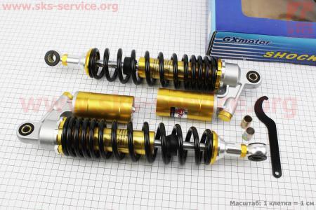 Амортизатор задний JH/CB/CG - 340мм*d60мм (втулка 10;12мм / втулка 10;12мм) газовый регулир., черный к-кт 2шт для мопеда Delta (Viper)