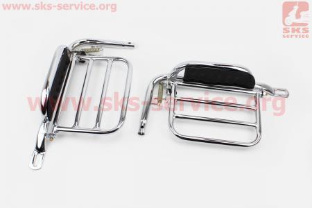"""Багажник задний + подножки """"ХРОМ"""" + откидная грузовая боковая платформа (лев, прав.), к-кт для мопеда ALPHA (Viper)"""