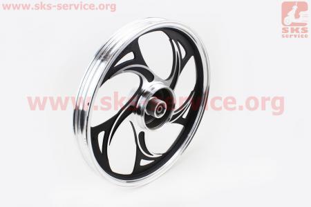 """Диск задний литой 1,6-17"""" ALPHA/ACTIVE """"волна"""", черный (ось 12мм), тип 2 для мопеда ALPHA (Viper)"""