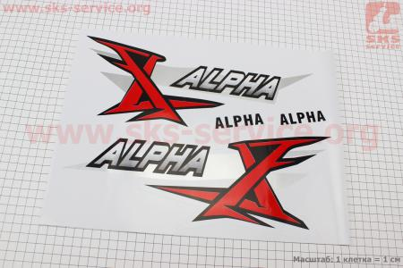 "Наклейка ""ALPHA"" на бак лев, прав к-кт 2шт (35х14см) для мопеда ALPHA (Viper)"