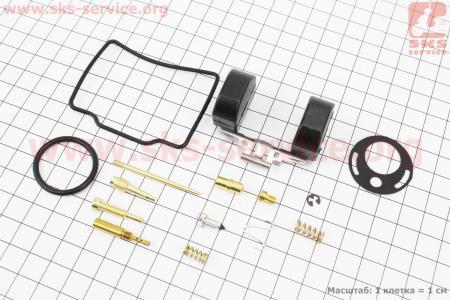 Ремонтный к-кт карбюратора 90cc, 14 деталей+поплавок для мопеда ALPHA (Viper)