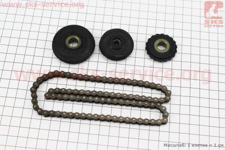 Цепь распредвала 140сс - 25H-90L + ролики 3шт, к-кт (питбайк, ролик направляющий 45мм) для ПИТБАЙКА - PIT BIKE Viper V125P (ENDURO)