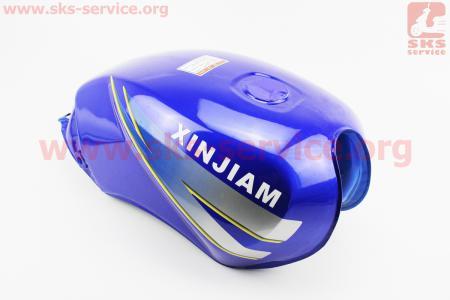 """Бак топливный СИНИЙ (под прямоугольную крышку бака, под кран топл. на болты) - надпись """"XINSIAM"""" для мотоцикла VIPER-125-J (двигатель СВ-125сс-200сс)"""
