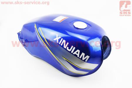 """Бак топливный СИНИЙ (под прямоугольную крышку бака, под кран топл. на болты, под датчик топл.) - надпись """"XINSIAM"""" для мотоцикла VIPER-125-J (двигатель СВ-125сс-200сс)"""