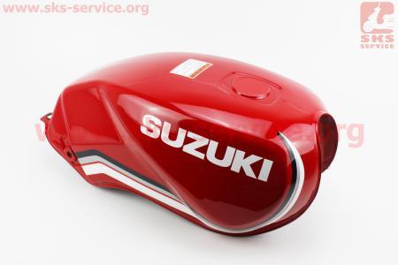 """Бак топливный КРАСНЫЙ (под прямоугольную крышку бака, под кран топл. на болты) - надпись """"SUZUKI"""" для мотоцикла VIPER-125-J (двигатель СВ-125сс-200сс)"""