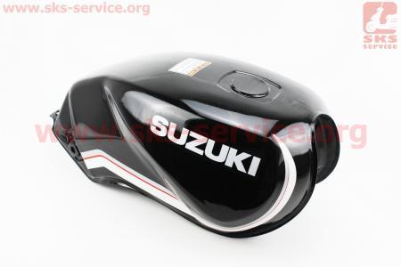 """Бак топливный ЧЕРНЫЙ (под прямоугольную крышку бака, под кран топл. на болты) - надпись """"SUZUKI"""" для мотоцикла VIPER-125-J (двигатель СВ-125сс-200сс)"""
