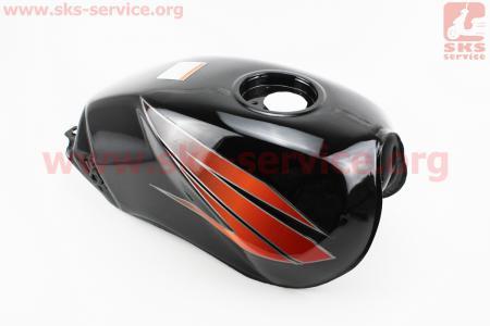 Бак топливный ЧЕРНЫЙ (под круглую крышку бака, под кран топл. с резьбой, под датчик топл.) для мотоцикла VIPER-125-J (двигатель СВ-125сс-200сс)