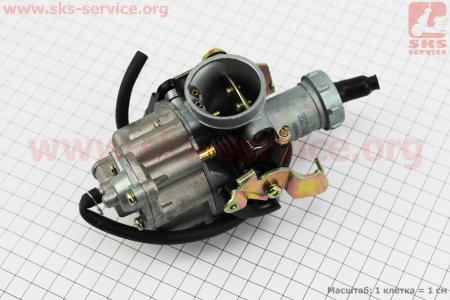 Карбюратор СВ/CG-150 (d=27), дросель под трос, с ускорительным насосом на двигатель CG125-250cc (с толкателями), на ZUBR