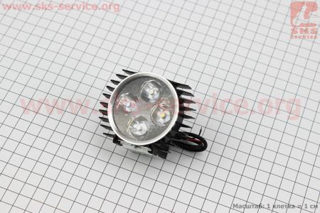 """Фара дополнительная светодиодная - 4 LED с креплением, """"компакт"""" ЧЕРНАЯ для мотоциклов разных моделей (Китай, импорт)"""