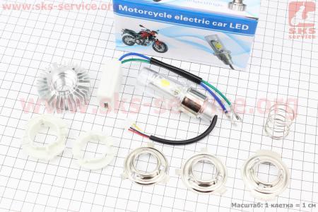 Лампа фары диодная LED-2 SUPER универсальная (к-кт разных креплений), с стабилизатором