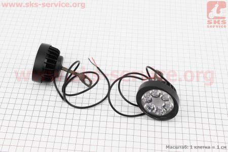 Фара дополнительная светодиодная влагозащитная (65*55mm) - 6 LED с креплением под зеркало, к-кт 2шт