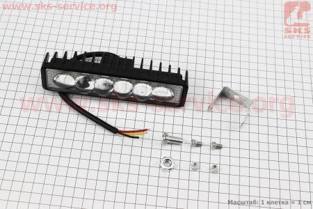 Фара дополнительная светодиодная влагозащитная - 6 LED с креплением, прямоугольная 39*148мм, с стробоскопом