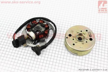 Магнето в сборе, тип 2 для китайских скутеров на двигатель TB50,65сс 2-T цепной вариатор